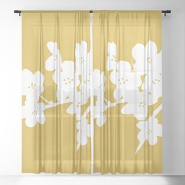 Plum Blossom Branch in White and Mustard Yellow . Floral Minimalism Sheer Curtain