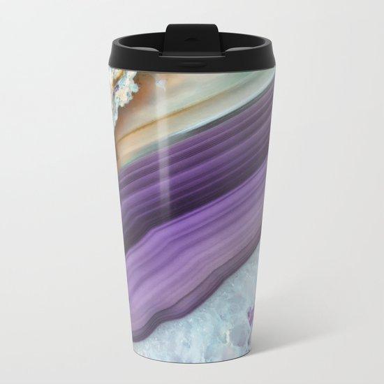 Purple Agate Slice Metal Travel Mug