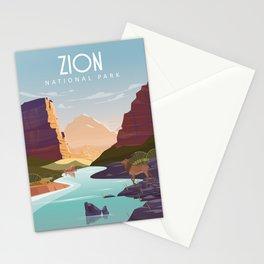 Zion national park  vintage travel poster Stationery Cards
