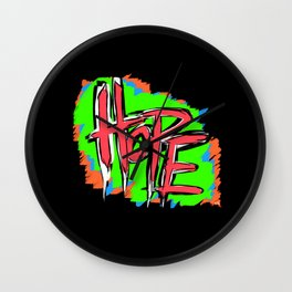 Hope (retro neon 80's style) Wall Clock
