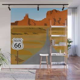 Route 66 Highway Illustration Wall Mural