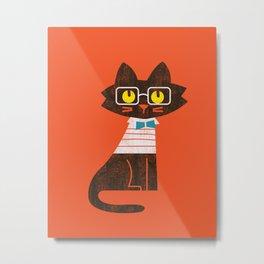 Fitz - Preppy cat Metal Print