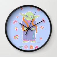 sticker Wall Clocks featuring Yoda Sticker Magic by Noel ILL Art