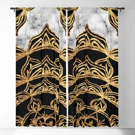 Gold Lace on Marble Blackout Curtain