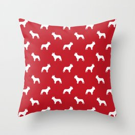 Boston Terrier pet silhouette red and white minimal dog lover gifts Throw Pillow