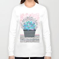 succulent Long Sleeve T-shirts featuring succulent by Asja Boros