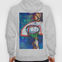 Basketball Hoop, BBall Art, Modern Sports Artwork Hoody