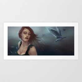 woman and birds Art Print