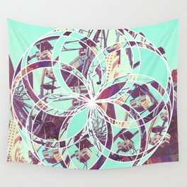 Los Angeles Ferris Wheel Abstract Mosaic Wall Tapestry