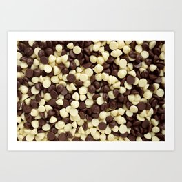 Dark and white chocolate chips Art Print