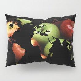 World Map Silhouette - Apples Pillow Sham
