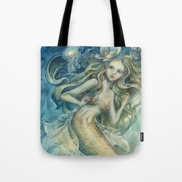 mermaid with Flowers in her hair Tote Bag