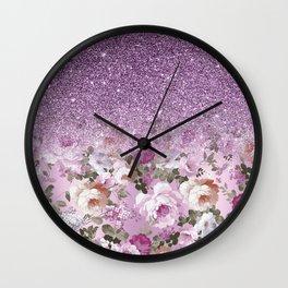 Botanical lavender pink purple floral glitter gradient Wall Clock
