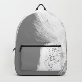 Feather grey white art print Backpack