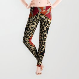 Katti Kurgan Suzani Uzbekistan Embroidery Print Leggings