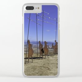 Alto de Perdon, Pilgrim Statue Clear iPhone Case