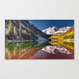 OLena Art Maroon Bells And Maroon Lake Near Aspen Colordo Canvas Print