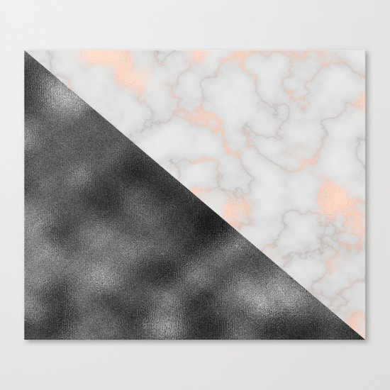 Rose gold marble and gunmetal grey storm Canvas Print