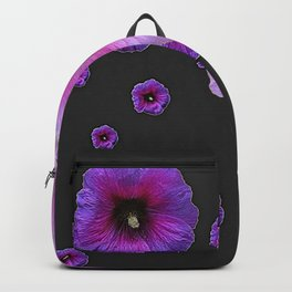 ASYMMETRICAL  PINK-PURPLE  HOLLYHOCKS ON DARK CHARCOAL GREY ART Backpack