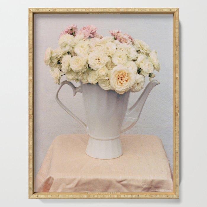 Pastel wedding roses in the pot - the day of Venus - flowers photography Serving Tray