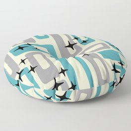 Retro Mid Century Modern Abstract Pattern 223 Blue and Gray Floor Pillow
