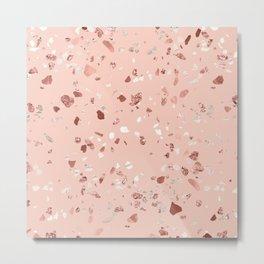 Deep Pink Quartz Gold Terrazzo Metal Print
