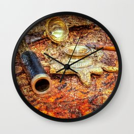 Vintage Looking Glass, Inkstand, Pen On A Map. Time To White A Story Wall Clock
