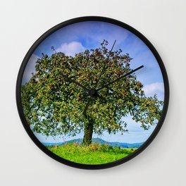 Appletree on a green meadow Wall Clock