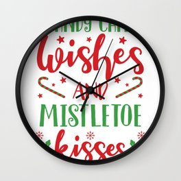 Cute Christmas Candy Cane Wishes and Mistletoe Kisses Wall Clock