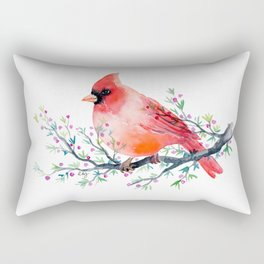 Watercolor red cardinal on berry branch Rectangular Pillow