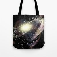 rileigh smirl Tote Bags featuring Galaxy by Rileigh Smirl