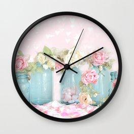 Shabby Chic Aqua Pink Roses Mason Jars Wall Clock