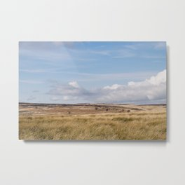 Blue sky and white clouds above sunlit moorland. Derbyshire, UK. Metal Print