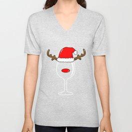 Wine Glass Reindeer Christmas Unisex V-Neck