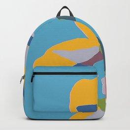 yellow flower on blue design Backpack