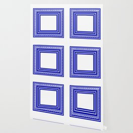 Blue and White Lines Geometric Abstract Pattern Wallpaper