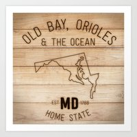 maryland Art Prints featuring Maryland by Home State