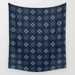 Indigo Pattern Patchwork Style Geometric Grid Wall Tapestry