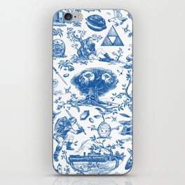 "Zelda ""Hero of Time"" Toile Pattern - Zora's Sapphire iPhone Skin"