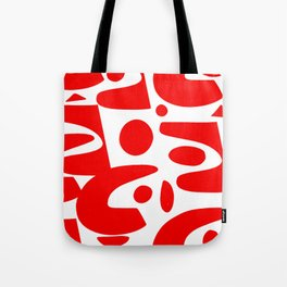 Red and white abstract art organic decorative Tote Bag
