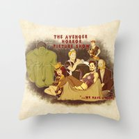 rocky horror picture show Throw Pillows featuring The Avenger Horror Picture Show by Leigh Lahav