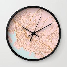 Honolulu map, Hawaii Wall Clock