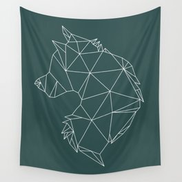 Geometric Wolf (White on Slate) Wall Tapestry