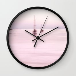 Pink Bahama Sunrise with sail boats Wall Clock