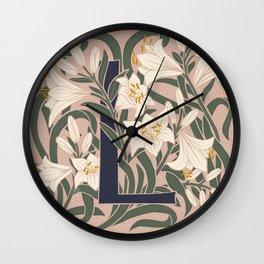 Floral Monogram Letter L Wall Clock