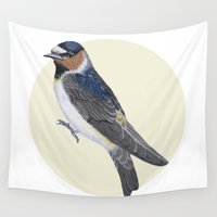 swallow Wall Tapestries featuring Cliff Swallow (Petrochelidon pyrrhonota) by Carolina Fuentes (BLUE HASH)