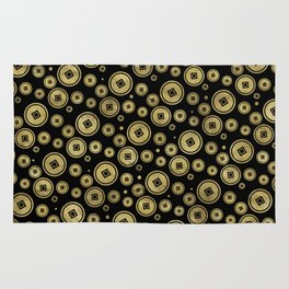 Chinese Coin Pattern Gold on Black Rug