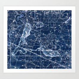 Pisces sky star map Art Print