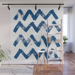 Painted waves pattern - big version in classic blue Wall Mural