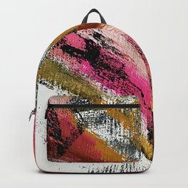 Motivation [3] : a colorful, vibrant abstract piece in pink red, gold, black and white Backpack